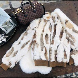 Wilsons Leather Maxima Rabbit Fur Bomber Jacket
